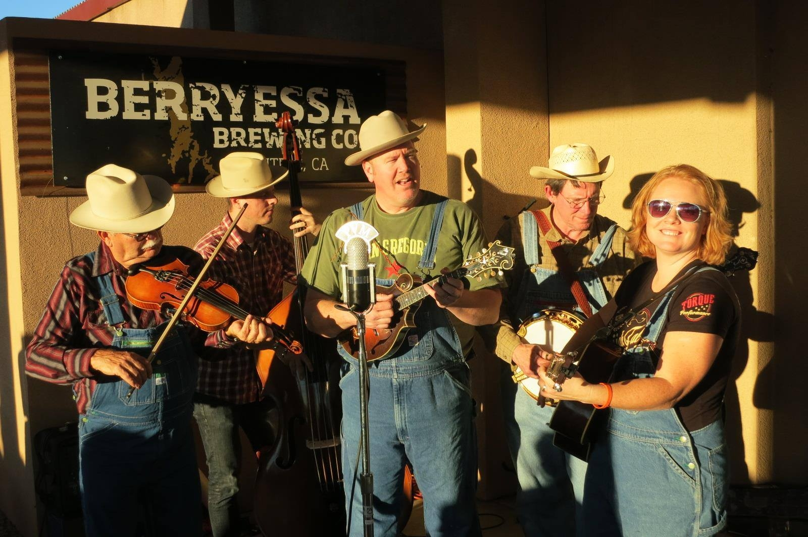 Pleasant Valley Boys performing in direct sunlight at Berryessa Brewing Co.